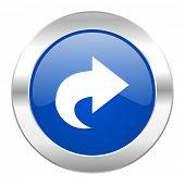 next blue circle chrome web icon isolated