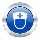 nurse blue circle chrome web icon isolated