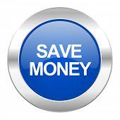 save money blue circle chrome web icon isolated