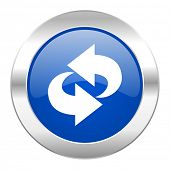 rotation blue circle chrome web icon isolated
