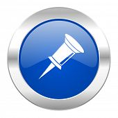pin blue circle chrome web icon isolated