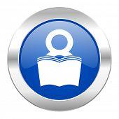 book blue circle chrome web icon isolated