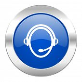 customer service blue circle chrome web icon isolated