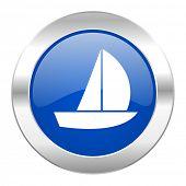 yacht blue circle chrome web icon isolated