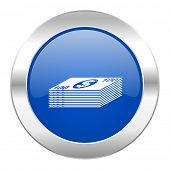 money blue circle chrome web icon isolated