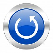 rotate blue circle chrome web icon isolated