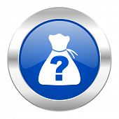 riddle blue circle chrome web icon isolated