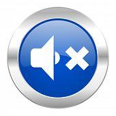 speaker volume blue circle chrome web icon isolated