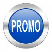 promo blue circle chrome web icon isolated