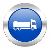 truck blue circle chrome web icon isolated