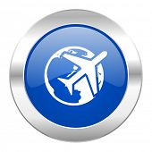 travel blue circle chrome web icon isolated