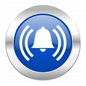 alarm blue circle chrome web icon isolated