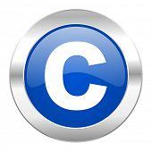 copyright blue circle chrome web icon isolated