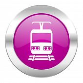 train violet circle chrome web icon isolated