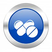 medicine blue circle chrome web icon isolated