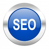 seo blue circle chrome web icon isolated