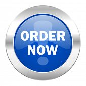 order now blue circle chrome web icon isolated