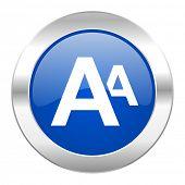 alphabet blue circle chrome web icon isolated