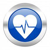 pulse blue circle chrome web icon isolated