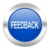 feedback blue circle chrome web icon isolated