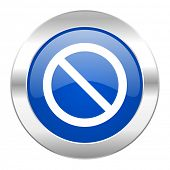 access denied blue circle chrome web icon isolated