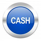 cash blue circle chrome web icon isolated