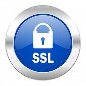 ssl blue circle chrome web icon isolated