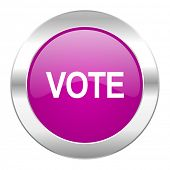 vote violet circle chrome web icon isolated