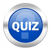 quiz blue circle chrome web icon isolated
