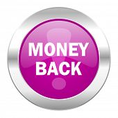 money back violet circle chrome web icon isolated