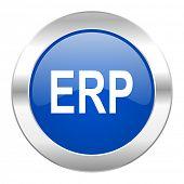 erp blue circle chrome web icon isolated