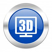 3d display blue circle chrome web icon isolated