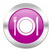 restaurant violet circle chrome web icon isolated