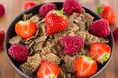 Bran Flakes With Fresh Raspberries And Strawberries