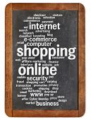 shopping online word cloud on a vintage slate blackboard isolated on white