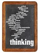 thinking word cloud on a vintage blackboard isolated on white