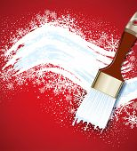 Christmas vector background with snowflakes and snow brush
