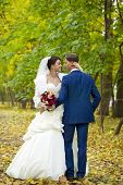 Happy Bride and groom, on background autumn park