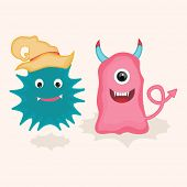 Colorful cartoon of monsters with pilgrim hat on beige background for Halloween concept.