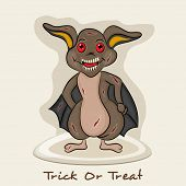 Smiling cartoon of Halloween bat for Trick Or Treat party celebration on beige background.