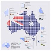 Dot And Flag Map Of Australia Infographic Design