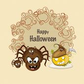 Happy Halloween poster with scary spiders and pumpkin for Halloween party celebration on beige background.