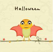 Colorful cartoon of bat sitting on rope for Halloween party celebration on stylish beige background,