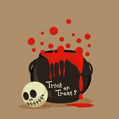Trick or Treat party celebration with scary skull and blood pot on brown background.