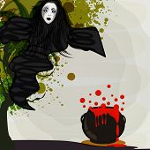 Witch and blood pot on stylish background for Happy Halloween party celebration.