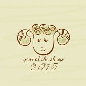 Happy New Year 2015 celebrations greeting with creative sheep, Year of the Sheep concept.