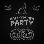 Poster, banner or flyer for Halloween party celebration with pumpkins and pilgrim hat on black background.