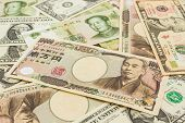 Colorful Of  World Banknotes Background