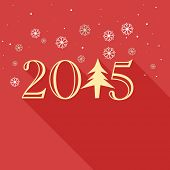 Stylish text  2015 made with Xmas tree on snowflake decorated red background for Happy New Year celebrations.