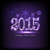 Happy New Year 2015 celebration greeting card design with shiny text on snowflake decorated purple background.